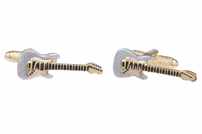 Electric Guitar Gold Coloured Cufflinks